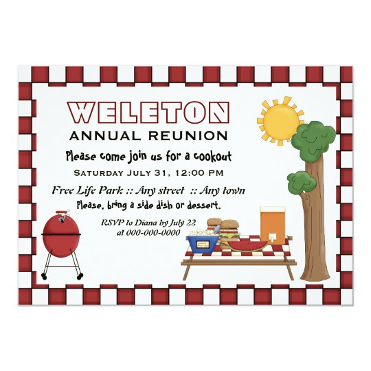 BBQ cookout picnic family reunion checkered border Invitation