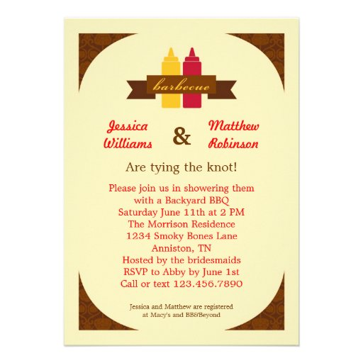 Bbq couples bridal shower invitation 5 x 7 invitation for Wedding couples shower invitations