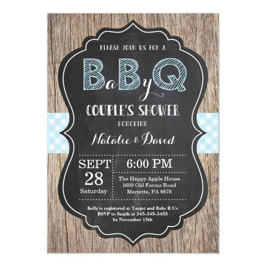 BBQ Couples Shower Invitation Baby Q Backyard Boy | Zazzle.com