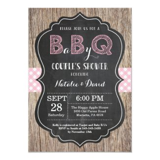 BBQ Couples Shower Invitation Baby Q Backyard Girl