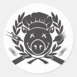 BBQ Crest Black Classic Round Sticker