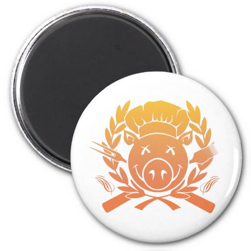 BBQ Crest - sunset fade 2 Inch Round Magnet