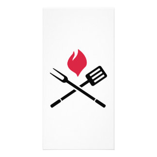 BBQ cutlery fire Photo Cards