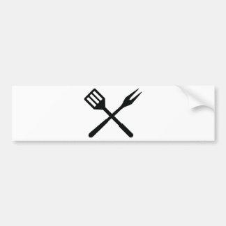 BBQ cutlery icon Bumper Sticker