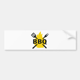 BBQ cutlery with flames icon Bumper Sticker