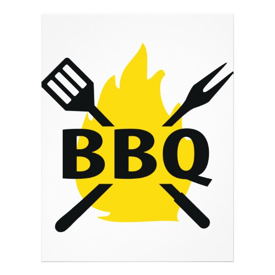 BBQ cutlery with flames icon Flyer