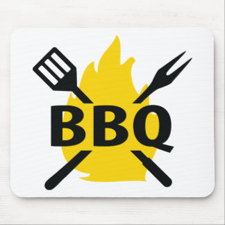 BBQ cutlery with flames icon Mouse Pad