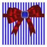 Bbq de la comida campestre Blue White Stripe Invitación 13,3 Cm X 13,3cm