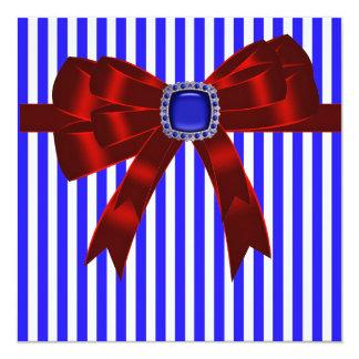 "Bbq de la comida campestre Blue White Stripe Invitación 5.25"" X 5.25"""
