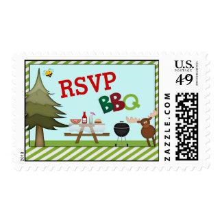 Bbq de la comida campestre en la reunión de timbres postales