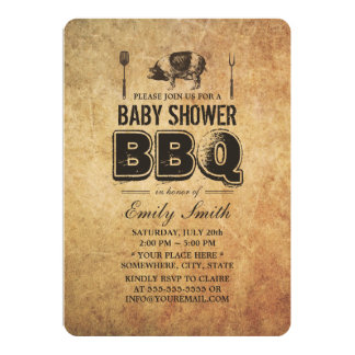 """Bbq de la fiesta de bienvenida al bebé de la carne invitación 5"""" x 7"""""""