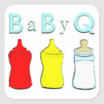 Bbq de la fiesta de bienvenida al bebé pegatina cuadrada
