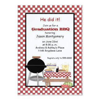 """Bbq de la graduación invitación 5"""" x 7"""""""