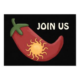 Bbq de la pimienta de chile rojo - fiesta invitación 12,7 x 17,8 cm