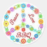 Bbq del amor de la paz etiquetas redondas