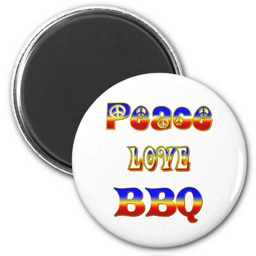 Bbq del amor de la paz imán redondo 5 cm