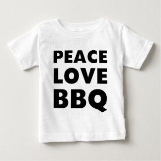 Bbq del amor de la paz playera de bebé
