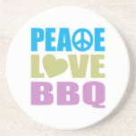 Bbq del amor de la paz posavaso para bebida