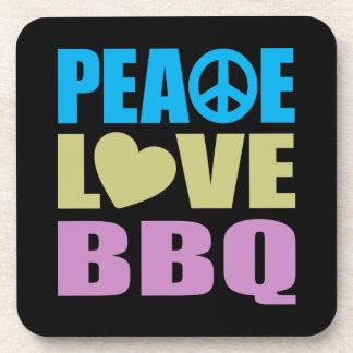 Bbq del amor de la paz posavasos de bebidas