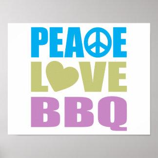 Bbq del amor de la paz póster