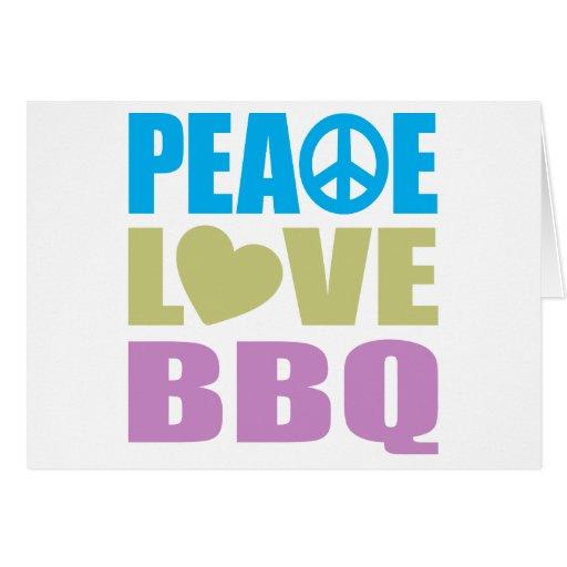 Bbq del amor de la paz tarjeton