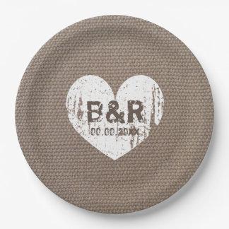 Bbq del monograma del vintage de la arpillera que platos de papel