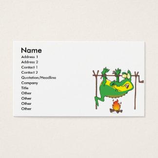 BBQ dinner funny alligator gator cartoon Business Card