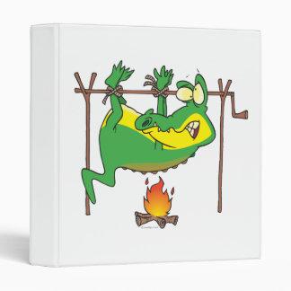 BBQ dinner funny alligator gator cartoon Vinyl Binder