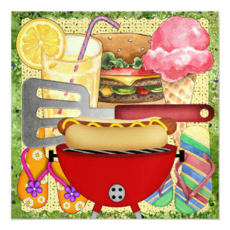"BBQ - End of Year Party! SRF 5.25"" Square Invitation Card"