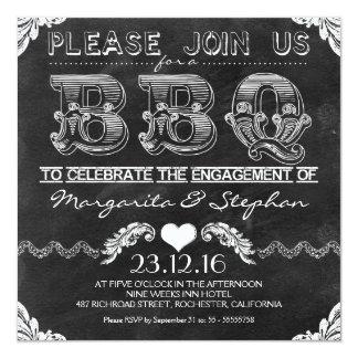 BBQ engagement party black chalkboard invitations