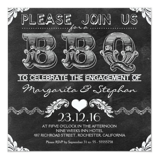 bbq engagement party black chalkboard invitations zazzle com