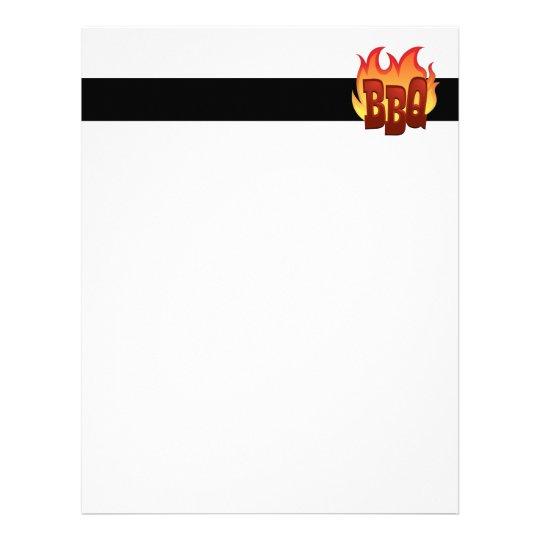 bbq flame text design letterhead
