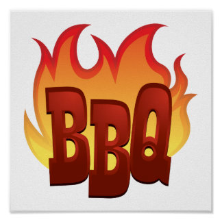 bbq flame text design poster