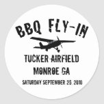 BBQ Fly-In Airplane Round Stickers
