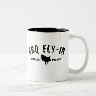 BBQ Fly In Pig Two-Tone Coffee Mug