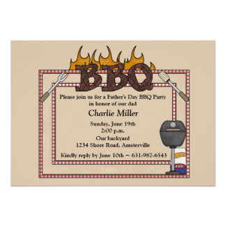 BBQ Frame - Father s Day Party Invitation