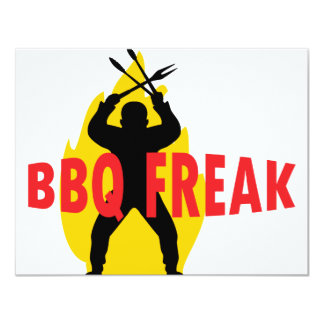 BBQ-Freak with cutlery and flame Card