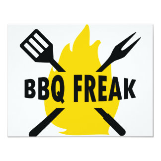 BBQ-Freak with cutlery and flame icon Invitation