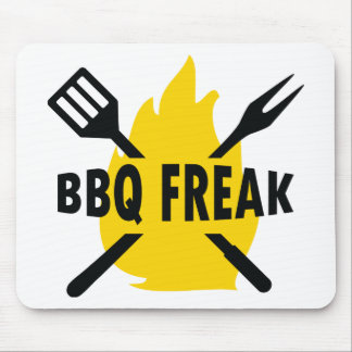 BBQ-Freak with cutlery and flame icon Mouse Pad