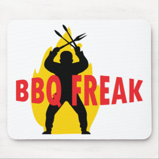 BBQ-Freak with cutlery and flame Mouse Pad