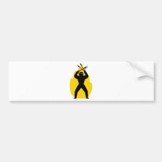 BBQ freak with cutlery icon Bumper Sticker