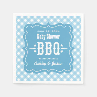 BBQ Gingham Plaid Napkins | Blue and White