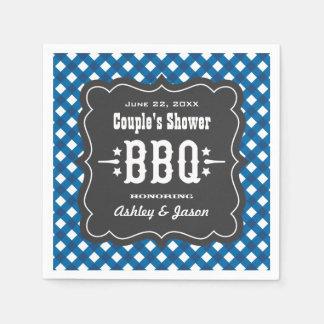 BBQ Gingham Plaid Napkins | Blue + Charcoal Black