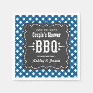 BBQ Gingham Plaid Napkins | Blue + Charcoal Black Standard Cocktail Napkin at Zazzle