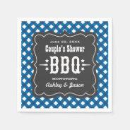 BBQ Gingham Plaid Napkins | Blue + Charcoal Black Standard Cocktail Napkin at Zazzle