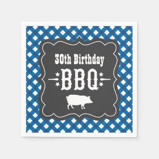 BBQ Gingham Plaid Napkins | Blue Charcoal Black Paper Napkins