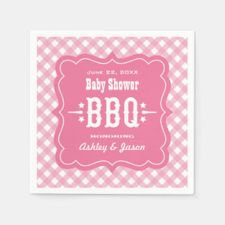 BBQ Gingham Plaid Napkins | Pink and White
