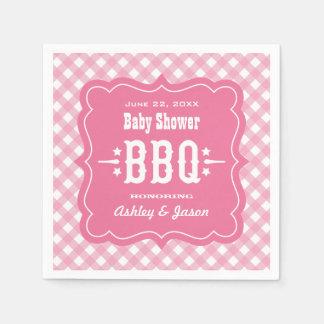 BBQ Gingham Plaid Napkins | Pink and White