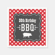 BBQ Gingham Plaid Napkins | Red and Charcoal Black Standard Cocktail Napkin at Zazzle