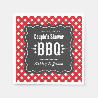 BBQ Gingham Plaid Napkins | Red and Charcoal Black Disposable Napkins